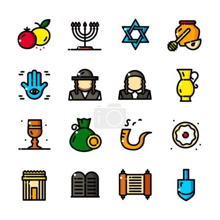 Thin line Judaism icons set