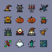 Thin line Halloween icons set