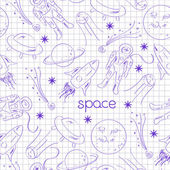 Space vector seamless pattern drawing blue pen on notebook sheet