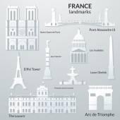 Landmarks of France vector 3D paper design icon set