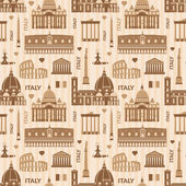 Landmarks of Italy vector monochrome seamless pattern with flat geometric objects