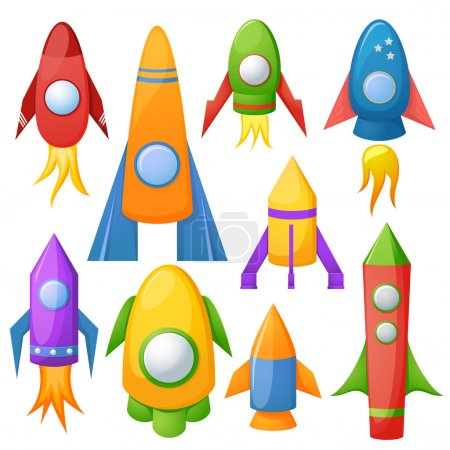 Cartoon rockets illustration set