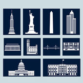 Landmarks of United States of America vector colorful flat icons set