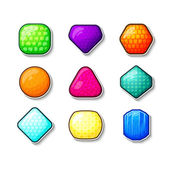 Set of crystals in different materials and shapes in cartoon style
