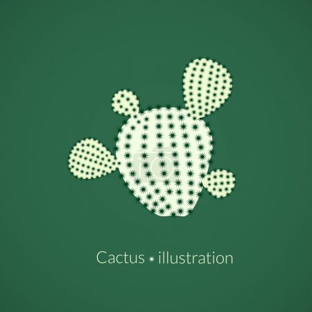 Illustration for Green plant prickly pear cactus with four spikes, succulent abstract illustration, vector logo in flat style - Royalty Free Image