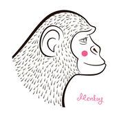 Pencil drawing monkey in hatching equipment outline cartoon character's face in profile and calligraphy inscription vector illustration in doodle style