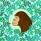 Colorful monkey in circle frame on detailed background with leaves of tropical plants randomly arranged concept of environmental protection vector illustration