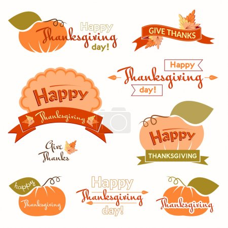 Set of vintage labels and inscriptions Thanksgiving