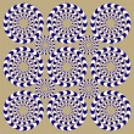 Spin Circles (Illusion). Optical Illusion. Optical illusion Spin Cycle. Optical illusion background pattern. Bright background with the optical illusion