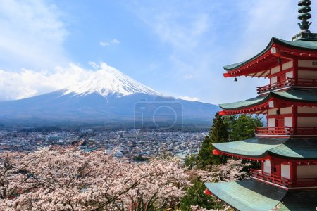 Mt. Fuji viewed from behind Chureito Pagoda or Red Pagoda.