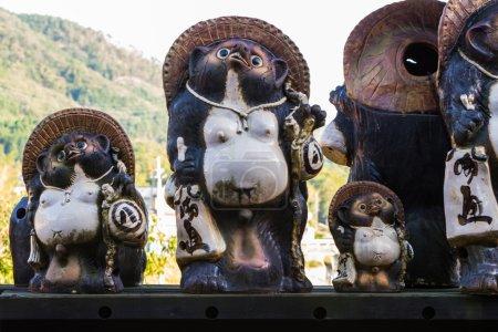 Animal sculpture or Japanese raccoon dog, Tanuki .