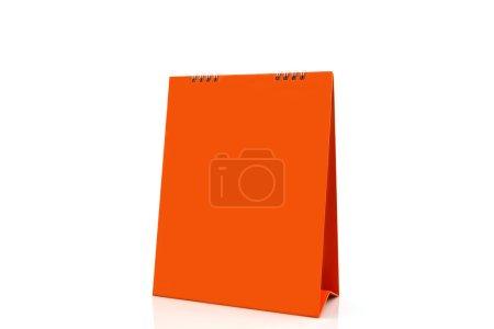 Orange blank paper desk spiral calendar.