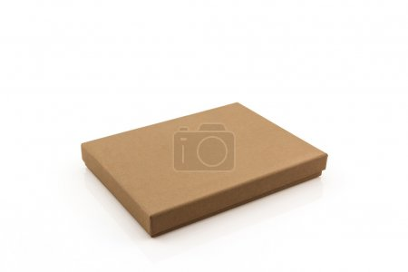 Brown paper box on white background .