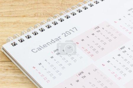 White paper desk spiral calendar 2017