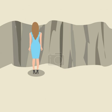 Illustration for Young woman standing and looking at the edge of a cliff, Vector illustration - Royalty Free Image