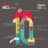Guide to Healthy Lifestyle Infographics with small detailed miniatures