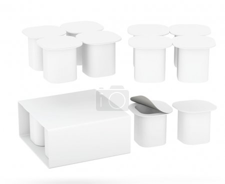 Set of   yogurt cup package with clipping path