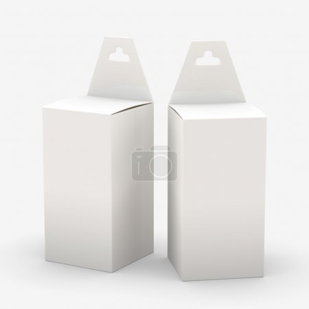 Photo pour White rectangle paper  box packaging with hanger, clipping path included. Template package for variety product like ink cartridge, electronic or stationery. ready for Your Design and artwork - image libre de droit