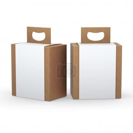 Photo for Brown paper box with white wrap and handle packaging for variety products, clipping path included. - Royalty Free Image