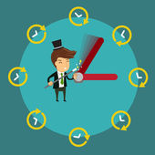 Smiling Businessman using magic wand to control  clock's hands Vector illustration for time control or time management concept