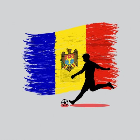 Soccer Player action with Republic of Moldova  flag on backgroun