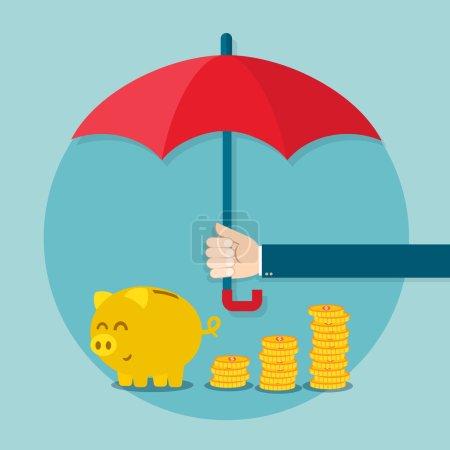 Illustration pour Main tenant le parapluie pour protéger l'argent. Illustration vectorielle pour concept d'épargne financière - image libre de droit