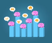 Piggy bank standing on step chart vector for saving money planin