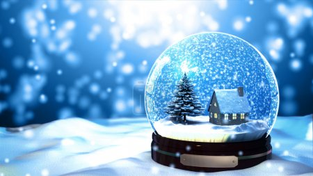 Photo for Christmas Snow globe Snowflake close-up - Royalty Free Image