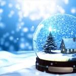 Christmas Snow globe Snowflake close-up...