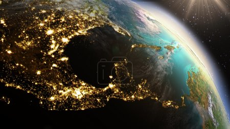 Planet Earth Central America zone using satellite imagery NASA