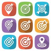 FLat target icon pack with shadow Vector