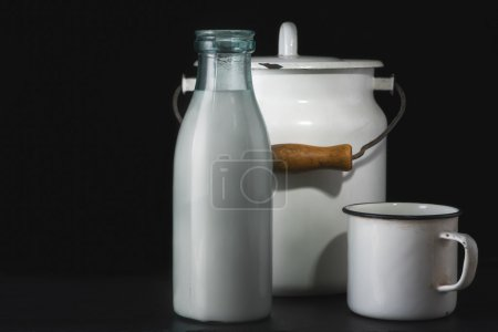 Milk bottle and cup