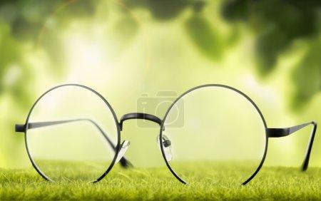 Eyeglasses on natural background