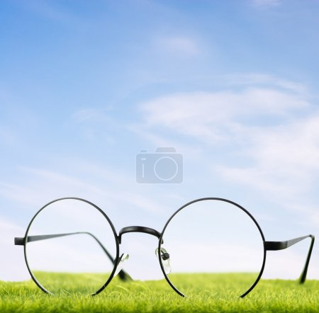 Eyeglasses on grass with sky