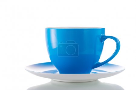 Blue cup isolated on white