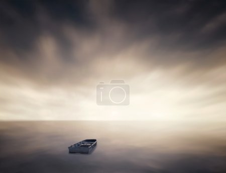 Lonely boat in sea