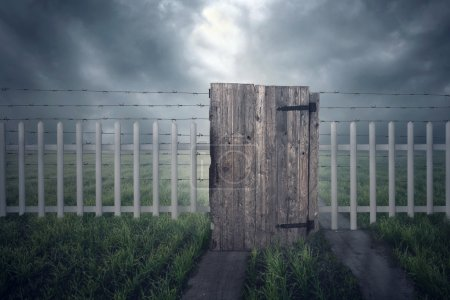 Photo for Closed area with fence in the field - Royalty Free Image
