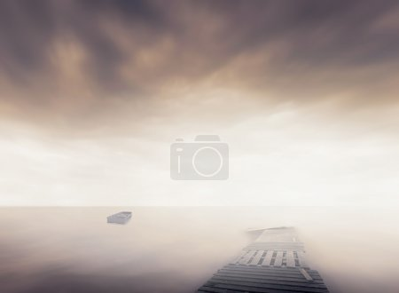 boat and pier in sea
