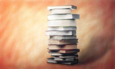 pile of books over orange background
