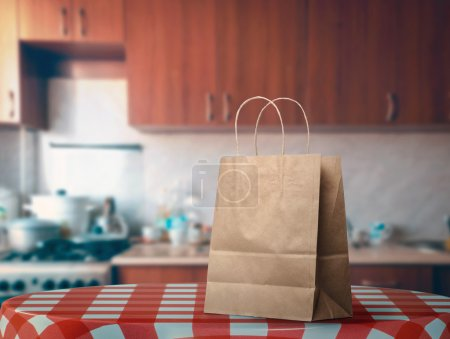 Paper bag on kitchen table