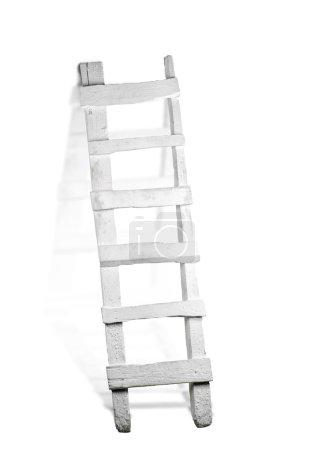 White ladder isolated on white