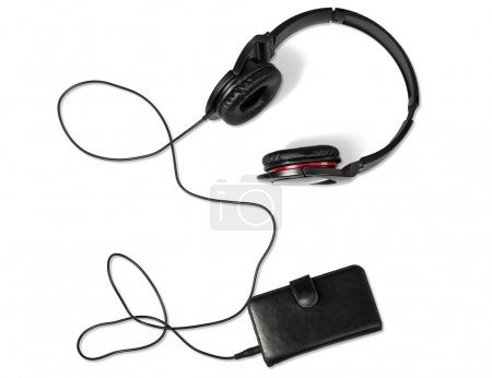 Smartphone in leather case with headphones