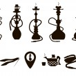 Hookah icons black set with accessories isolated v...