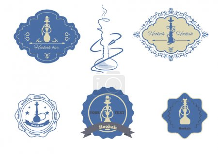 Collection hookah emblems set isolated vector illu...