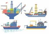 Oil platform drillship oil and gas barge icebreaker vector il