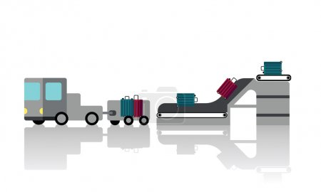Illustration for At the airport, a trolley dropped the luggages to the plane. - Royalty Free Image