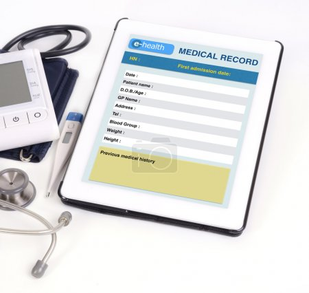 Photo for Electronic medical record show on tablet scree. - Royalty Free Image