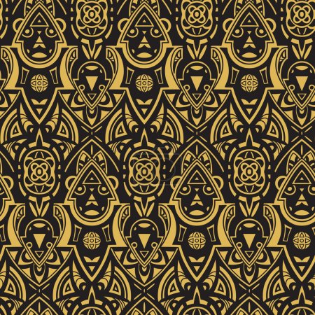 Illustration for Vector seamless ethnic pattern. Abstract background. Geometric borders. Traditional colorful ornament - Royalty Free Image