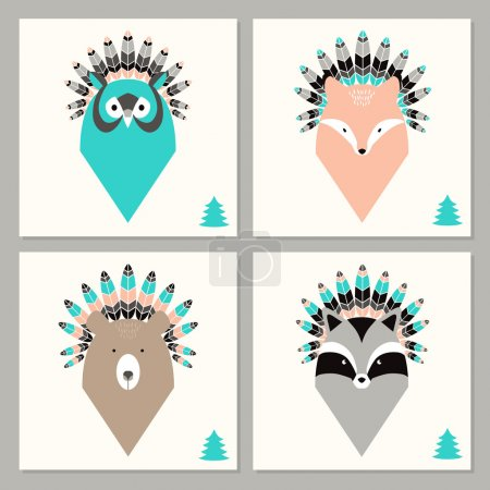 Set of cards with animals