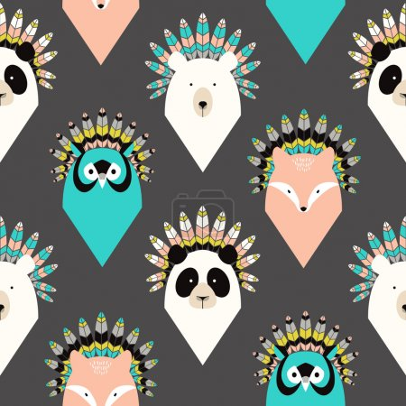 Illustration for Cute seamless pattern with animals with feathers - Royalty Free Image